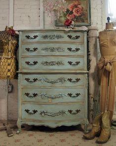 Vintage Painted Cottage Shabby Aqua Chic Dresser CH216. $495.00, via Etsy.
