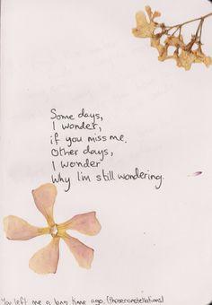 Some days, I wonder, if you miss me.Other days, i wonder why I'm still wondering