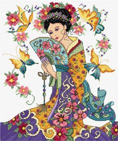 LJT028 Oriental Lady | Lesley Teare Needlework and Cross Stitch Chart Designs