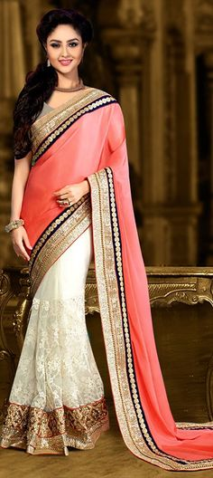 194236 Orange, White and Off White color family Embroidered Sarees, Party Wear Sarees in Faux Georgette fabric with Border, Machine Embroidery work with matching unstitched blouse.