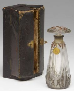 """J. VIARD-EPINOIX Monna Vanna """"Bouquet Cavalieri"""" perfume bottle of clear and frosted glass with enameled raised detail, metal pendant label, in box. c.1900. 5"""" NOIX Monna Vanna """"Bouquet Cavalieri"""""""