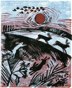 'Running Deer' linocut, Celia Hart.