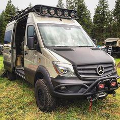 The ROAMBUILT beast. Check out those custom made… Mercedes Sprinter 4x4 Camper, 4x4 Camper Van, 4x4 Van, Benz Sprinter, Truck Camper, Offroad Camper, Mercedes Benz Vans, Mercedes Van, Mercedes G Wagon