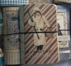 Cute antique Santa. Primitive Christmas journal, planner or midori notebook cover. So easy to switch out covers when you're in the mood or for the holidays!! See more at Lets Get Happy Graphics.