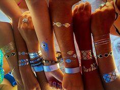 Rouelle ELLEtatts ANY 4 FOUR SHEETS Metallic Tattoos, flash tattoos, gold tattoos, silver tattoos, temporary tattoos, jewelry tattoos.