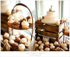 Wooden crate as a cake stand for your country wedding. Make sure it's sturdy! #countrywedding #westernwedding #cowboy #reception