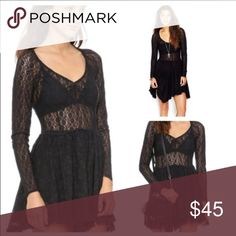 NWT Free People lace Skater slip Please save your money and buy on Merc.  It's listed for 45 there under the same username.  This is a beautiful piece.  It's stretchy black lace.  New with tags.  Feel free to ask any questions or send offers.  😘. Thanks for looking! Free People Dresses