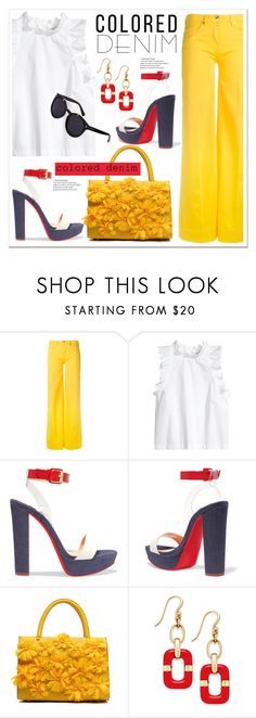 """""""Spring Trend: Colored Denim"""" by spenderellastyle ❤ liked on Polyvore featuring Love Moschino, Christian Louboutin, Charter Club and coloredjeans"""