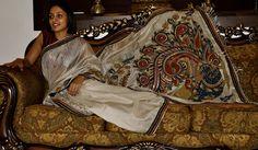 Bailu weave with peacock kalamkari appliqué on entire pallu and lower border