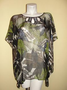 Chico's Top Green Blue Brown Black Floral 100% Silk Sheer Tunic Poncho One Size #Chicos #BlousePoncho #EveningOccasion