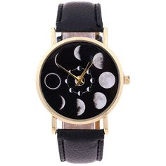 Lunar Eclipse Faux Leather Quartz Watch ($3.58) ❤ liked on Polyvore featuring jewelry, watches, quartz wrist watch, quartz jewelry, faux leather watches, vegan jewelry and quartz watches
