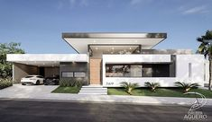 La imagen puede contener: casa, cielo y exterior Modern Villa Design, Modern Architecture Design, Concept Architecture, Modern Minimalist House, Luxury Homes Dream Houses, Dream House Plans, Facade House, Modern Exterior, Planer