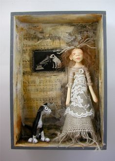 Shadow Box Doll Sculpture girl and dog listening music sheet collage