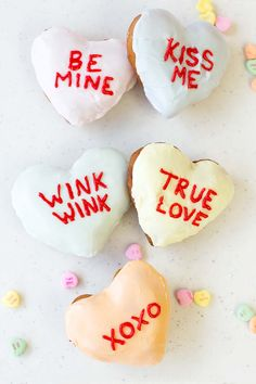 We think incorporating Valentine's Day candies into your wedding is genius. That's why we had to include these conversation heart doughnuts, which are perfect as favours or to include in your sweet table. The adorable phrases will be sure to stir conversation among your guests.