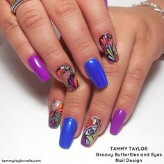 Tammy Taylor Groovy Butterflies and Eyes Nail Design by Gisela Marti, Creative Director at Tammy Taylor Nails! Find out how to do these nails by going onto Tammy Taylor Nails Pinterest page and looking under Nail Tutorials!  tammytaylornails.com