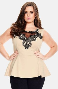 City+Chic+'Lace+Motif'+Sleeveless+Peplum+Top+(Plus+Size)+available+at+#Nordstrom