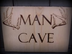 Man Cave Wood Burned Sign with Deer Antlers by shellibeandesigns, $25.00  rob