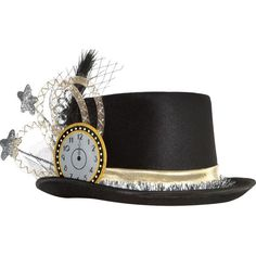 The Clock & Stars New Year's Eve Top Hat features a clock, stars, a black feather, and more. Get ready to celebrate the new year in this polyester top hat! New Years Eve Tops, New Years Hat, New Years Eve Day, Eve Costume, Halloween Costume Shop, Halloween Costumes For Kids, New Years Eve Party Ideas Decorations, New Years Eve Party Ideas For Adults, Christmas Ideas