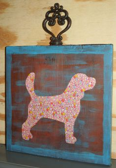 Art with (re)Purpose Pink Posey Beagle Silhouette on Wood Canvas Original Mixed Media