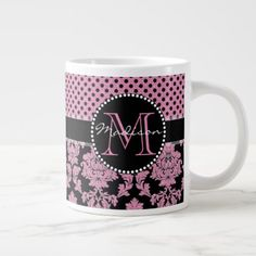 Pink glitter & black damask Pink Black Dots Name Large Coffee Mug - vintage gifts retro ideas cyo