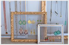turn old frames into jewelry hangers