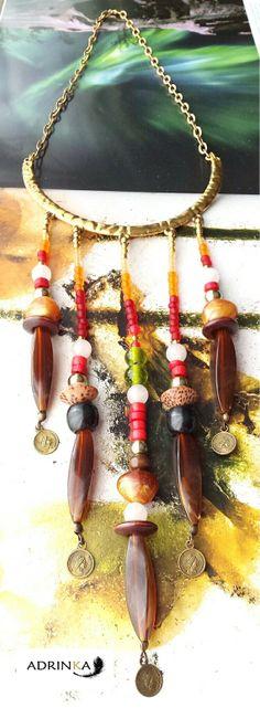 Collar semirígido étnico por Adrinka en Etsy, €24.95 Wind Chimes, Mud, Outdoor Decor, Etsy, Jewelry, Home Decor, The Creation, Jewlery, Decoration Home