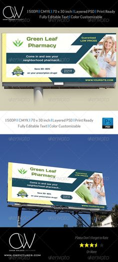 Pharmacy Billboard Banner Template PSD. Download here: http://graphicriver.net/item/pharmacy-billboard-template/7954904?s_rank=183&ref=yinkira