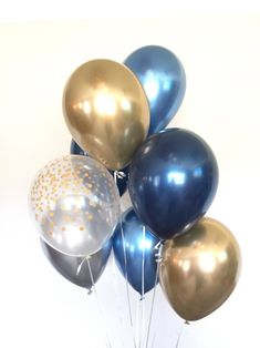 Chrome Blue Balloons Navy and Gold Balloons Navy and White Gold Party Decorations, Balloon Decorations, Baby Shower Decorations, Birthday Decorations, Blue Ballons, Black Balloons, Baby Shower Balloons, Birthday Balloons, Shower Baby