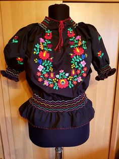 Hungarian Black Blouse Floral handembroidered Peasant blouse