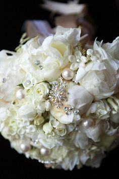 Pearl Bouquet Wedding White