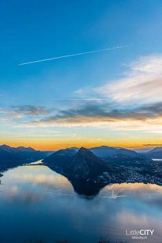 Tessin Monte Bré Lugano Sonnenuntergang Lugano, Reisen In Europa, Zermatt, Swiss Alps, Train Travel, Cool Pictures, Mountains, World, City