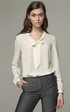 Ozsale - Long Sleeved Tie Detail Blouse Ecru - Ozsale.com.au