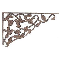 an ornate but sturdy bracket in an aged rust finish the hummingbird shelf brackets add decorative - Decorative Metal Shelf Brackets