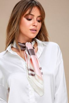 Sip on your espresso and watch the city life go by in the French Girl Blush Multi Striped Scarf! Pink Scarves, Striped Scarves, Ways To Wear A Scarf, How To Wear Scarves, Silk Neck Scarf, Scarf Styles, Hair Styles, Scarf Knots, Mother's Day