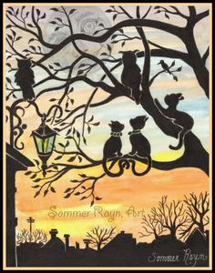 Item 0454a, Historical City Sunset, Owls and Kitties in the trees, Cats, watercolor print or card, Shadow Kitties