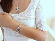 Girl Necklace Bracelet Set Silver Plated by sevinchjewelry on Etsy, $32.00
