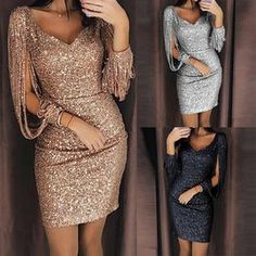 Tassel lantern sleeve sequin dress Women sexy v neck bodycon dresses Autumn fashion elegant party dress Sequined vestidos mujer Sexy Dresses, Beautiful Dresses, Evening Dresses, Fashion Dresses, Prom Dresses, Mini Dresses, Elegant Dresses, Awesome Dresses, Party Dresses For Women