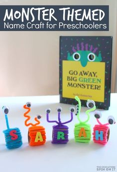 Monster Name Craft for Preschoolers inspired by Go Away Big Green Monster. A fun book activity for halloween with your child. Preschool Learning Activities, Alphabet Activities, Toddler Activities, Preschool Activities, Reading Activities, Name Crafts, Book Crafts, Fall Projects, Amigurumi