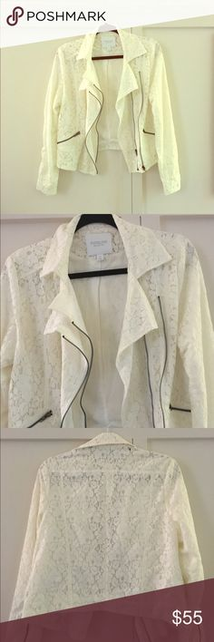 WHITE LACE MOTO STYLE JACKET Floral lace white MOTO style jacket with zippers. Sleeves and back are lined. Sleeves are 23.5 inches. Bush is 36 inches. Length is 18 inches. Medium fits size 8 to 10. Never worn but tags removed. Piperlime Jackets & Coats