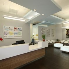 Specializing in the design of Dental, Orthodontic, and Medical Offices. Green Curve can refresh your office interior with a Modern office design. Dental Office Decor, Dental Office Design, Modern Office Design, Office Interior Design, Office Interiors, Clinic Design, Healthcare Design, Reception Desk Design, Dental Reception