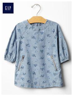 Floral chambray zip-pocket dress