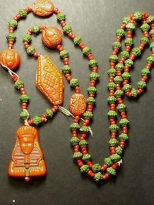 ANTIQUE-ART-DECO-CZECH-MAX-NEIGER-BEADS-NECKLACE-EGYPTIAN-REVIVAL-SCARAB-SPHYNX