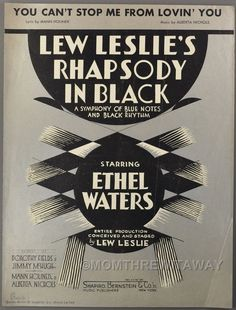 YOU CAN'T STOP ME FROM LOVIN' YOU Holiner Nichols RHAPSODY IN BLACK Ethel Waters