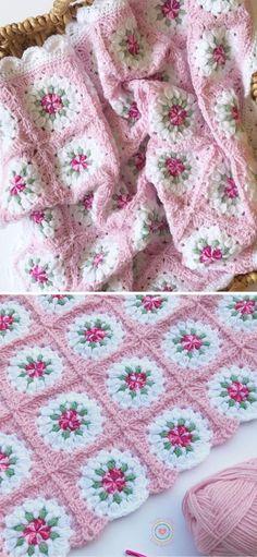 Crochet Blanket Edging, Crochet Baby Blanket Free Pattern, Crochet Patterns Amigurumi, Crochet Quilt Pattern, Crocheted Baby Blankets, Free Baby Knitting Patterns, Crochet Edging Patterns, Vintage Crochet Patterns, Granny Square Pattern Free