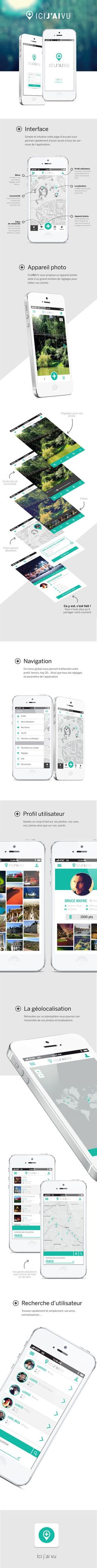 Application ICI J'AI VU by Nathalie Troucelier, via Behance // design mobile, webdesign, digitale, smartphone