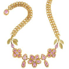 Antique Gold and Foiled-Back Pink Topaz Necklace  Composed of pairs of looped links surmounted by a stylized repousse bow motif, centering 24 oval and pear-shaped foiled-back pink topaz set within a floral design, decorated with repousse scrolls, flanked by finely detailed gold leaves, completed by a clasp centering one oval pink topaz quartered by repousse gold scrolls, circa 1830