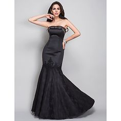 Trumpet/Mermaid Strapless Sweep/Brush Train Appliques Lace And Satin Evening Dress – USD $ 249.99