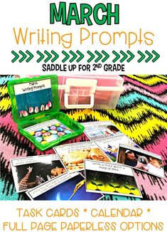 This set of 28 March themed writing prompts. These spring and basketball themed writing prompts come in a task card, calendar and full page version. Each card has a kid friendly writing prompt and a real life photo to match. Graphic organizers and writing paper are included. These are the perfect addition to your writing center.