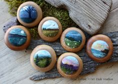 needle-felted landscape brooches by Lisa Jordan of lil fish studios