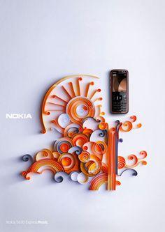 Ilustraciones de papel de Julia Brodskaya . Publicidad  Nokia